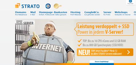 Screenshot von der Strato vServer Webseite