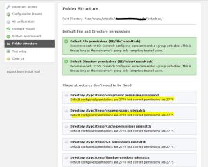 TYPO3 Folder structure Test vor der Korrektur der Dateisystemrechte