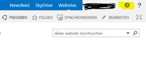 Aufrufen des Konfigurationsmenüs von SharePoint 2013