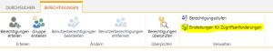 Aufrufen der Einstellungen für Zugriffsanforderungen bei SharePoint 2013